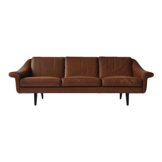 Aage Christiansen Danish Leather Sofa, 1960s