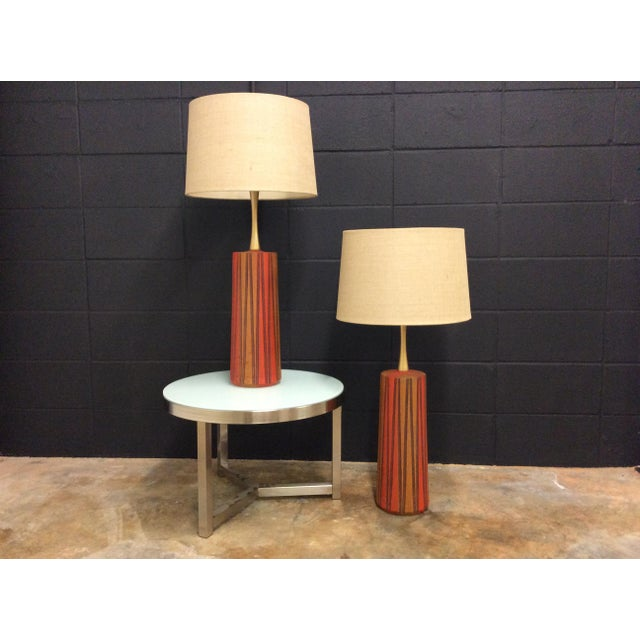 Mid-Century Ceramic Table Lamps - A Pair - Image 10 of 11