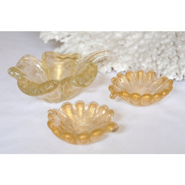 Vintage Murano Leaf-Shaped Dishes - Set of 3 - Image 3 of 5