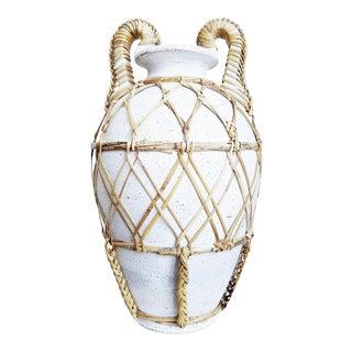 Rattan Wrapped Ceramic Mediterranean Urn