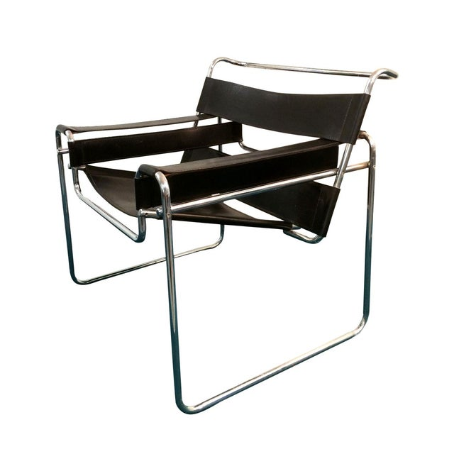 Image of Wassily Style Chair in Black Leather and Chrome