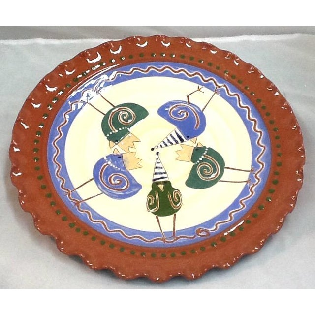 Handmade Chicken-Imagery Signed Pottery Tray - Image 2 of 5