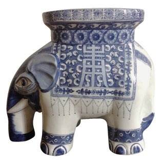 Blue & White Ceramic Elephant Stool