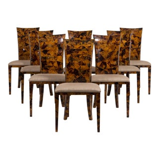 A Set of Eight Coconut Shell Veneered Dining Chairs 1980s