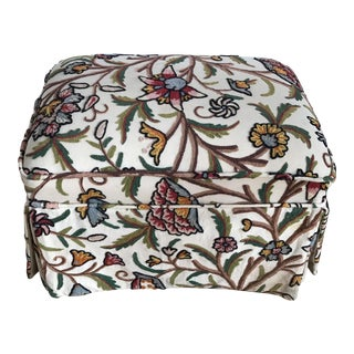 Bohemian Crewel Embroidery Skirted Ottoman