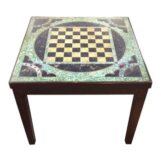 Wooden and Slate Game Board Motife Side Table