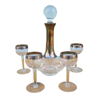 Dorothy Thorpe Silver Bend Decanter & Cordial Set