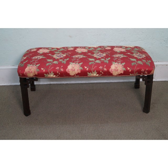 Vintage 1940s Mahogany Chippendale Style Bench - Image 2 of 10