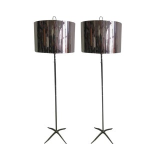 Pair of French Style Nickeled Floor Lamps in the Manner of Maison Charles
