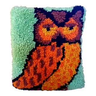 Vintage Owl Hooked Yarn Pillow