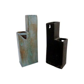 Modernist Signed Ceramic Vases - A Pair