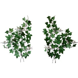 Italian  Ivy Tole Candle Sconces - A Pair