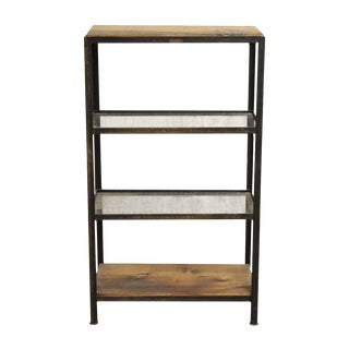 Wooden Wire Glass 4-Shelf Unit with a Steel Frame