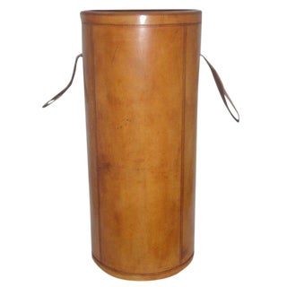 Round Tan Finished Leather Umbrella Stand