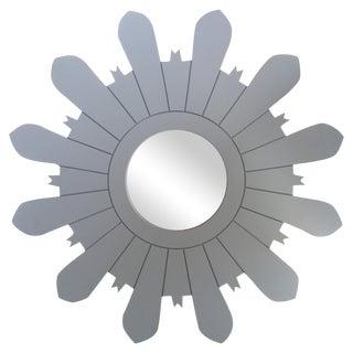Gray Framed Sunburst Mirror