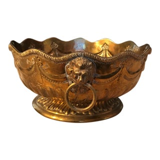 Mottahedeh Lion Head Brass Pedestal Bowl