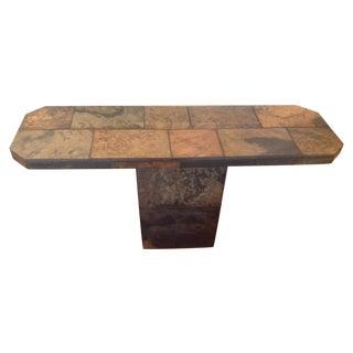 African Slate Pedestal Entry/Side Table