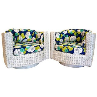 1960s Vintage White Wicker Swivel Chairs - Pair