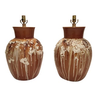 Lava Glaze Table Lamps - A Pair