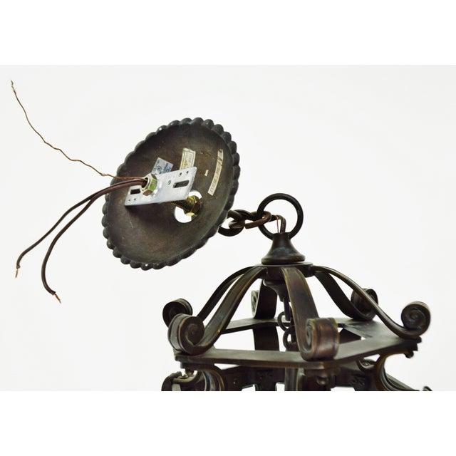 Bronze & Beveled Glass 3 Light Lantern Light Fixture - Image 9 of 11