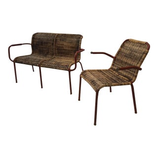 Jacques Adnet Early Stitched Leather and Wicker Set