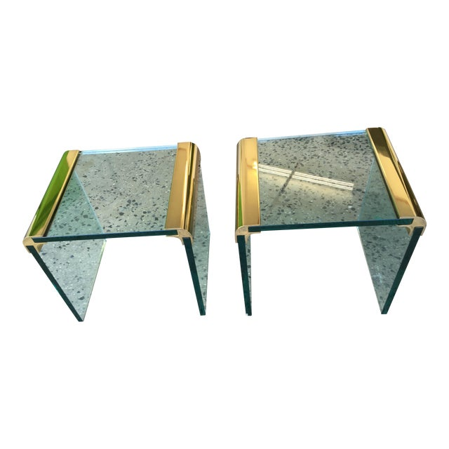 Pace Collection Brass & Glass End Tables- A Pair - Image 1 of 8