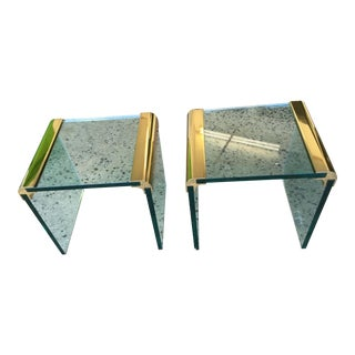Pace Collection Brass & Glass End Tables- A Pair