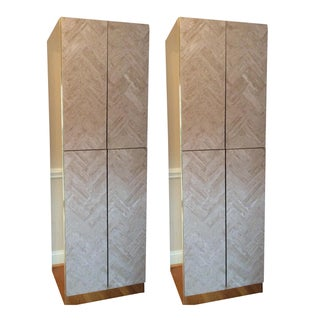 Ello Travertine Marble & Brass Bar Cabinets - A Pair