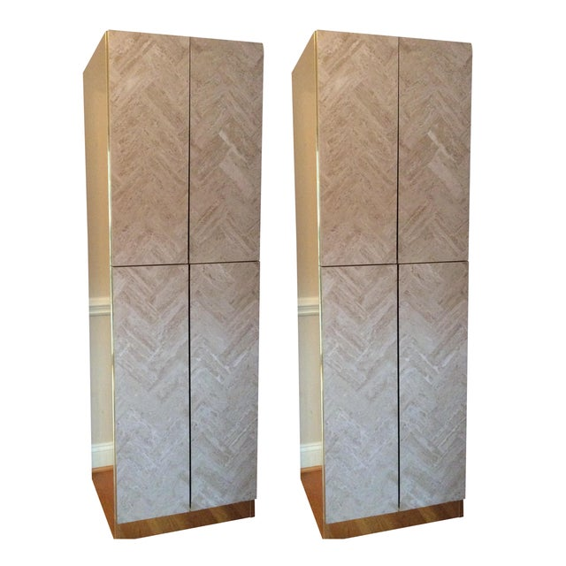 Image of Ello Travertine Marble & Brass Bar Cabinets - A Pair