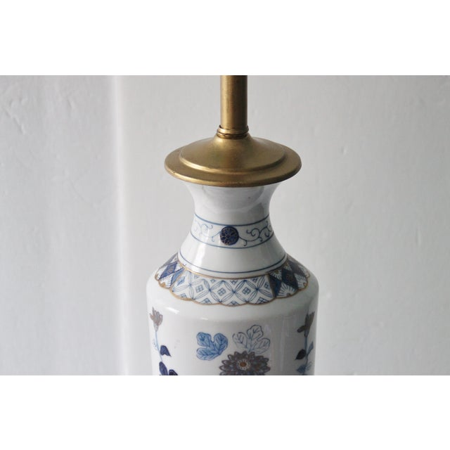 Image of Blue & White Floral Chinoiserie Lamp