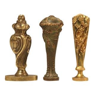 Antique French Bronze Wax Seals - Set of 3