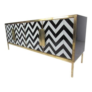 Italian Modern Glass and Brass Herringbone Credenza