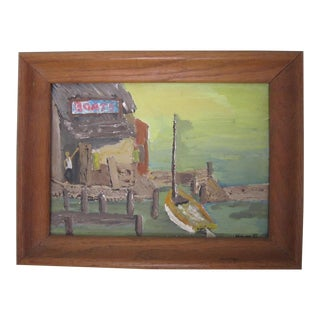 Vintage Framed Nautical Oil Painting