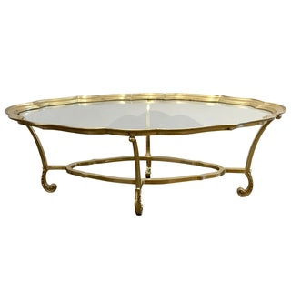La Barge Scalloped Brass & Glass Cocktail Table