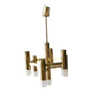 VIntage Italian Mid Century Brass 7 Light Chandelier