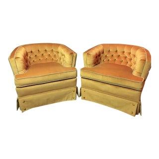 SilverCraft Orange Velvet Club Chairs - a Pair