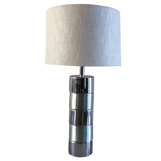 George Kovacs Style Cylindrical Chrome Table Lamp