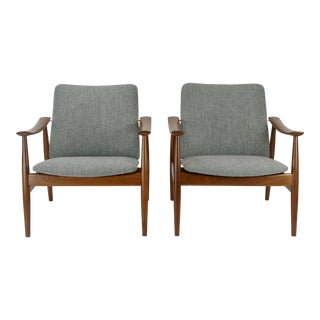Finn Juhl for France & Son Model 138 Danish Lounge Chairs - a Pair