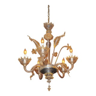 Murano Antique Venetian Chandelier Blown Clear Glass w/5 Candles