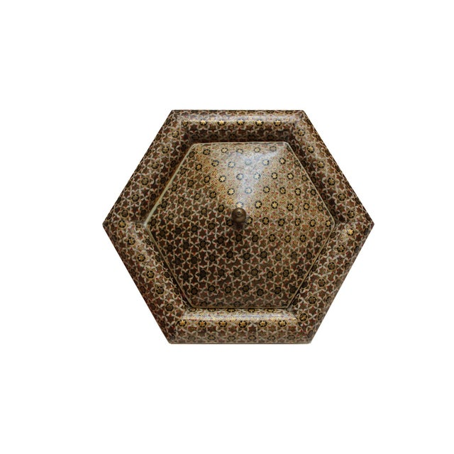 Hexagonal Wood Inlaid Box - Image 3 of 4