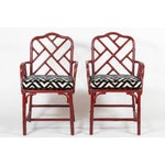 Image of Vintage Bamboo Chinese Chippendale Chairs - A Pair