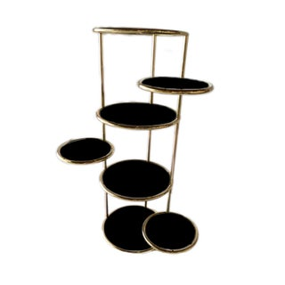 1970s Brass & Smokey Glass Circular Rotating Shelving