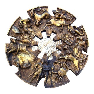 1970s Finesse Brutalist Zodiac Mirror