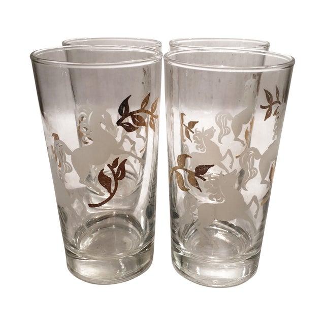 Image of Vintage Libbey Unicorn Glasses - Set of 4