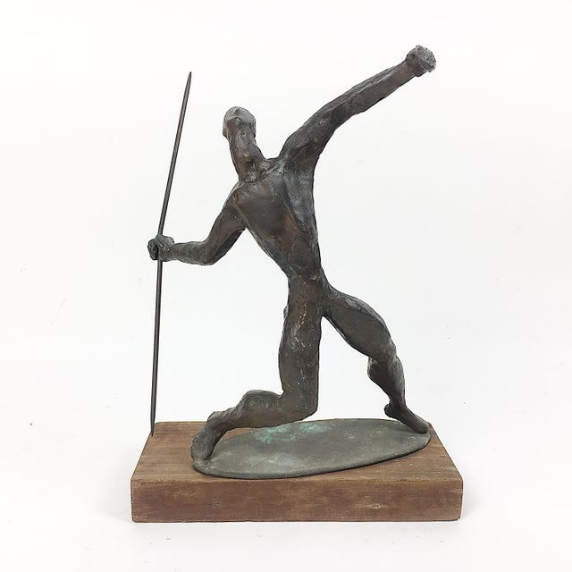Vintage Twila Albers Bronze Figure Throwing Spear - Image 2 of 8