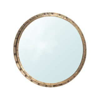 Brass Rivet Framed Port Hole Mirror