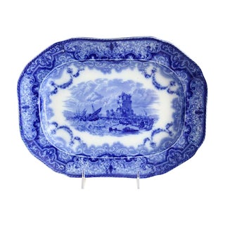 Antique Copeland Spode Flow Blue Platter