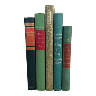 Mid-Century Green Books - Set of 5