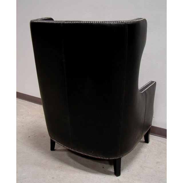 Bernhardt Black Saddle Leather Wingback Chair - Image 3 of 4
