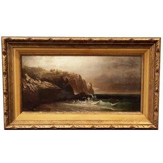 19th C. Antique Painting, European Coastal Scene